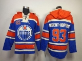 Edmonton Oilers #93 Nugent-Hopkins Light Blue Sawyer Hooded Sweatshirt Stitched NHL Jersey