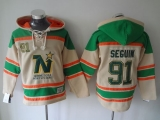 Dallas Stars #91 Tyler Seguin Cream Sawyer Hooded Sweatshirt Stitched NHL Jersey