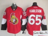 Autographed Ottawa Senators #65 Erik Karlsson Red Home Stitched NHL Jersey