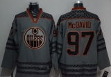 Edmonton Oilers #97 Connor McDavid Charcoal Cross Check Fashion Stitched NHL Jersey