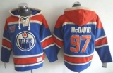 Edmonton Oilers #97 Connor McDavid Light Blue Sawyer Hooded Sweatshirt Stitched NHL Jersey