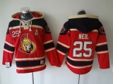 Ottawa Senators #25 Chris Neil Red Sawyer Hooded Sweatshirt Stitched NHL Jersey