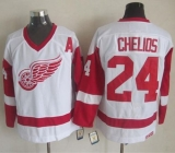 Detroit Red Wings #24 Chris Chelios White CCM Throwback Stitched NHL Jersey