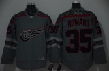 Detroit Red Wings #35 Jimmy Howard Charcoal Cross Check Fashion Stitched NHL Jersey