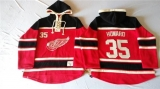 Detroit Red Wings #35 Jimmy Howard Red Sawyer Hooded Sweatshirt Stitched NHL Jersey