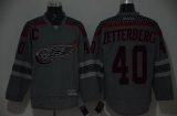Detroit Red Wings #40 Henrik Zetterberg Charcoal Cross Check Fashion Stitched NHL Jersey