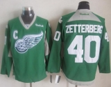 Detroit Red Wings #40 Henrik Zetterberg Green Practice Stitched NHL Jersey