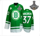 Boston Bruins 2011 Stanley Cup Champions Patch St Patty\'s Day #37 Patrice Bergeron Green Stitched NHL Jersey