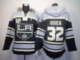 Los Angeles Kings #32 Jonathan Quick Black Sawyer Hooded Sweatshirt Stitched NHL Jersey