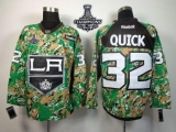 Los Angeles Kings #32 Jonathan Quick Camo Veterans Day Practice 2014 Stanley Cup Champions Stitched NHL Jersey