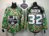Los Angeles Kings #32 Jonathan Quick Camo Veterans Day Practice 2014 Stanley Cup Finals Stitched NHL Jersey