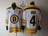 Boston Bruins Stanley Cup Finals Patch #4 Bobby Orr CCM Throwback White Stitched NHL Jersey