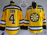 Boston Bruins Stanley Cup Finals Patch #4 Bobby Orr Stitched Winter Classic Yellow NHL Jersey