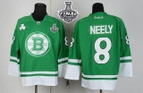 Boston Bruins Stanley Cup Finals Patch #8 Cam Neely Green St Patty\'s Day Stitched NHL Jersey
