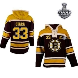 Boston Bruins Stanley Cup Finals Patch #33 Zdeno Chara Black Sawyer Hooded Sweatshirt Stitched NHL Jersey