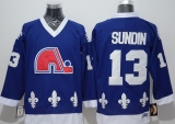 Quebec Nordiques #13 Mats Sundin Blue CCM Throwback Stitched NHL Jersey