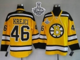 Boston Bruins Stanley Cup Finals Patch #46 David Krejci Stitched Winter Classic Yellow NHL Jersey