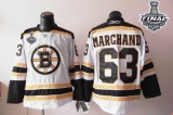 Boston Bruins Stanley Cup Finals Patch #63 Brad Marchand White Stitched NHL Jersey