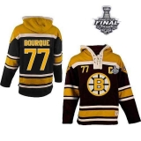 Boston Bruins Stanley Cup Finals Patch #77 Ray Bourque Black Sawyer Hooded Sweatshirt Stitched NHL Jersey