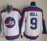 Winnipeg Jets #9 Bobby Hull White Blue CCM Throwback Stitched NHL Jersey