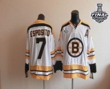 CCM Throwback Boston Bruins Stanley Cup Finals Patch #7 Phil Esposito White Stitched NHL Jersey
