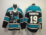San Jose Sharks #19 Joe Thornton Teal Sawyer Hooded Sweatshirt Stitched NHL Jersey