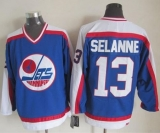 Winnipeg Jets #13 Teemu Selanne Blue White CCM Throwback Stitched NHL Jersey