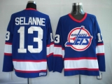 Winnipeg Jets #13 Teemu Selanne Stitched Blue CCM Throwback NHL Jersey