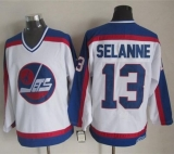 Winnipeg Jets #13 Teemu Selanne White Blue CCM Throwback Stitched NHL Jersey