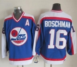 Winnipeg Jets #16 Laurie Boschman Blue White CCM Throwback Stitched NHL Jersey
