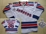 New York Rangers #36 Mats Zuccarello White Road With 2014 Stanley Cup Finals Stitched NHL Jersey