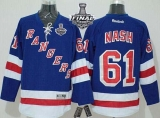 New York Rangers #61 Rick Nash Blue Home With 2014 Stanley Cup Finals Stitched NHL Jersey