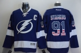 Tampa Bay Lightning #91 Steven Stamkos Blue USA Flag Fashion Stitched NHL Jersey