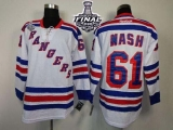 New York Rangers #61 Rick Nash White Road With 2014 Stanley Cup Finals Stitched NHL Jersey