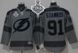 Tampa Bay Lightning #91 Steven Stamkos Charcoal Cross Check Fashion 2015 Stanley Cup Stitched NHL Jersey