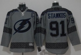 Tampa Bay Lightning #91 Steven Stamkos Charcoal Cross Check Fashion Stitched NHL Jersey