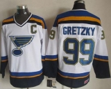 St Louis Blues #99 Wayne Gretzky White Navy CCM Throwback Stitched NHL Jersey