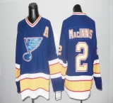 St Louis Blues CCM Throwback #2 Macinnis Blue Stitched NHL Jersey