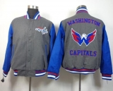 Washington Capitals Blank Satin Button-Up Grey NHL Jacket