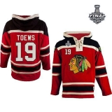 Chicago Blackhawks #19 Jonathan Toews Red Sawyer Hooded Sweatshirt 2015 Stanley Cup Stitched NHL Jersey