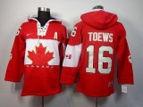 Olympic CA 16 Jonathan Toews Red Sawyer Hooded Sweatshirt Stitched NHL Jersey