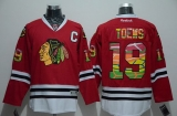 Chicago Blackhawks #19 Jonathan Toews Red Team Logo On No Stitched NHL Jersey