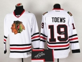 Chicago Blackhawks #19 Jonathan Toews White Autographed Stitched NHL Jersey