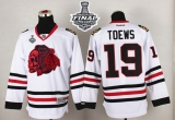 Chicago Blackhawks #19 Jonathan Toews White Red Skull 2015 Stanley Cup Stitched NHL Jersey