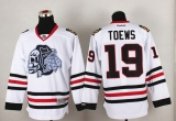 Chicago Blackhawks #19 Jonathan Toews White White Skull Stitched NHL Jersey