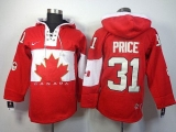 Olympic CA 31 Carey Price Red Sawyer Hooded Sweatshirt Stitched NHL Jersey