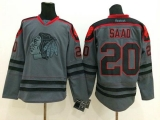 Chicago Blackhawks #20 Brandon Saad Charcoal Cross Check Fashion Stitched NHL Jersey