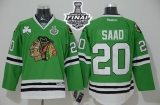 Chicago Blackhawks #20 Brandon Saad Green 2015 Stanley Cup Stitched NHL Jersey