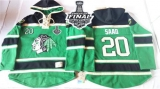 Chicago Blackhawks #20 Brandon Saad Green St Patrick\'s Day McNary Lace Hoodie 2015 Stanley Cup Stitched NHL Jersey