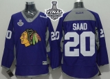Chicago Blackhawks #20 Brandon Saad Purple Practice 2015 Stanley Cup Stitched NHL Jersey
